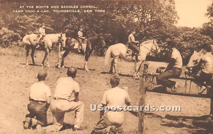 At the Boots and Saddles Corral - Youngsville, New York NY Postcard