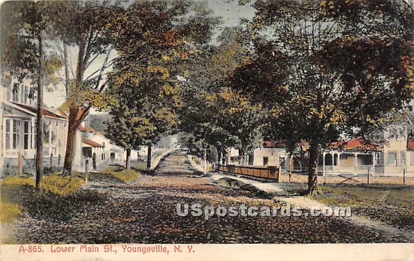 Lower Main Street - Youngsville, New York NY Postcard