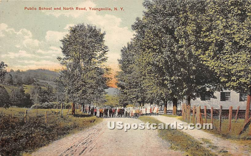 Public School and North Road - Youngsville, New York NY Postcard