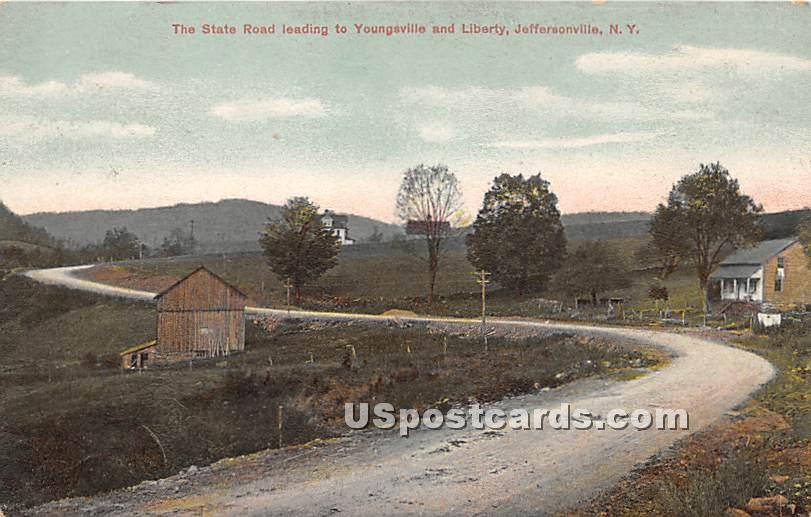 State Road leading to Youngsville and Liberty - New York NY Postcard