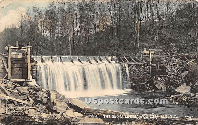 The Old Mill Dam - Youngsville, New York NY Postcard
