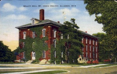 Miller Hall, MT. Union College - Alliance, Ohio OH Postcard