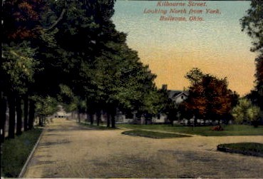 Kilbourne Street, Looking North from York - Bellevue, Ohio OH Postcard