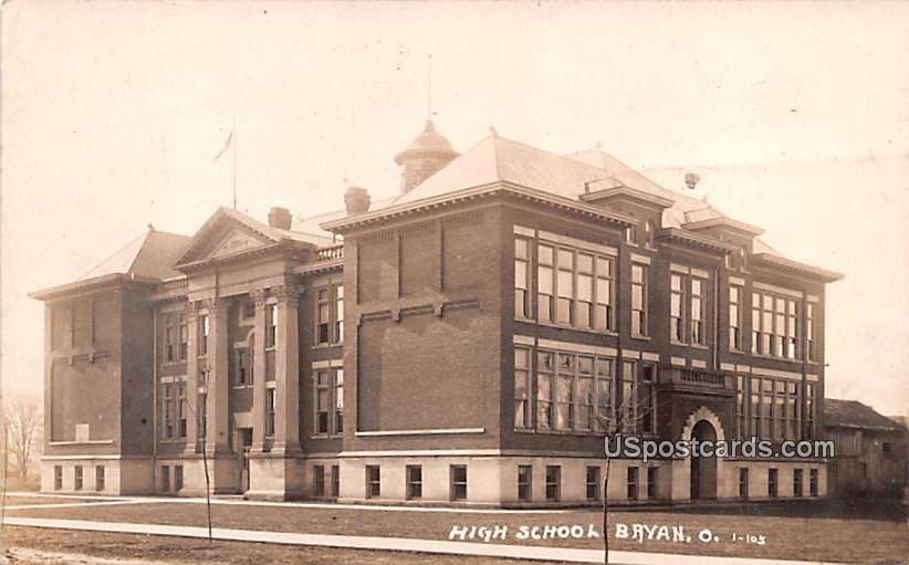 High School - Bryan, Ohio OH Postcard
