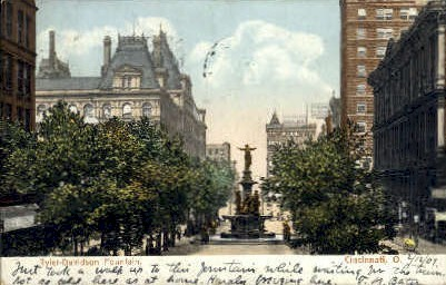 Tyler-Davidson Fountain - Cincinnati, Ohio OH Postcard
