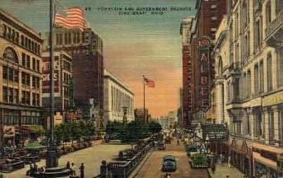 Fountain and Government Squares - Cincinnati, Ohio OH Postcard
