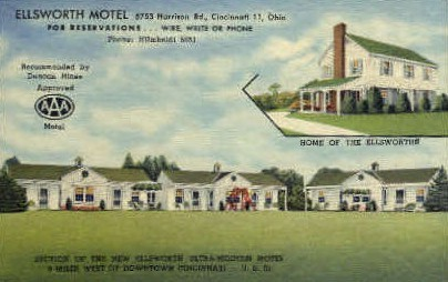 Ellsworth Motel - Cincinnati, Ohio OH Postcard