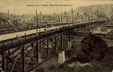 Harrison Ave. Viaduct - Cincinnati, Ohio OH Postcard