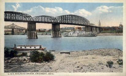 L. and N. Railroad Bridge - Cincinnati, Ohio OH Postcard