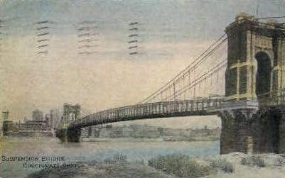 Suspension Bridge - Cincinnati, Ohio OH Postcard
