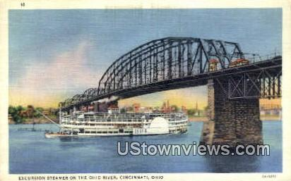 Excursion Steamer, Ohio River - Cincinnati Postcard