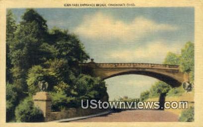 Eden Park Entrance Bridge - Cincinnati, Ohio OH Postcard