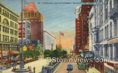 Fountain & Government Squares - Cincinnati, Ohio OH Postcard