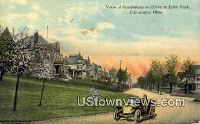 Residences, Drive, Eden Park - Cincinnati, Ohio OH Postcard