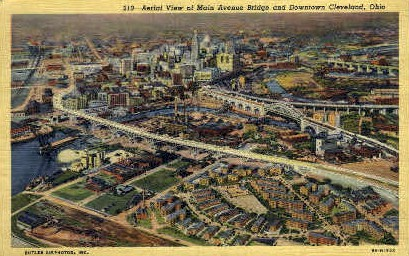 Main Avenue Bridge and Downtown - Cleveland, Ohio OH Postcard