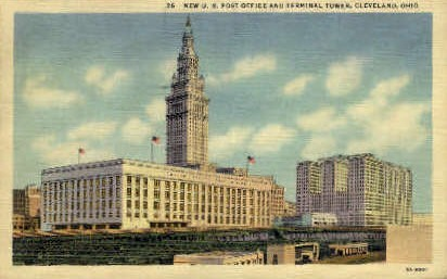 New U. S. Post Office and Terminal Tower - Cleveland, Ohio OH Postcard