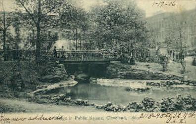 Bridge in Public Square - Cleveland, Ohio OH Postcard