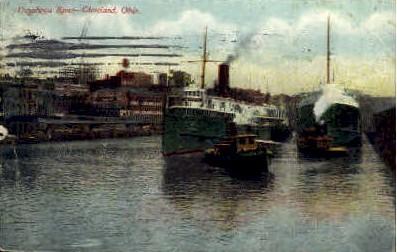 Cuyahoga River - Cleveland, Ohio OH Postcard