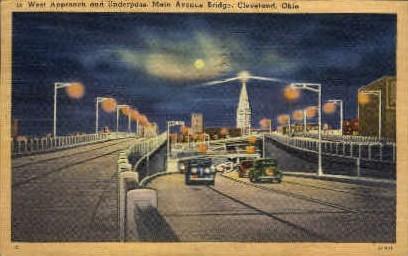 Main Ave. Bridge - Cleveland, Ohio OH Postcard