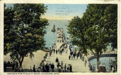 Concrete Pier at Euclid Beach - Cleveland, Ohio OH Postcard