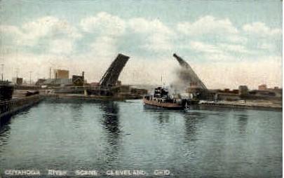 Cuyahoga River Scene - Cleveland, Ohio OH Postcard