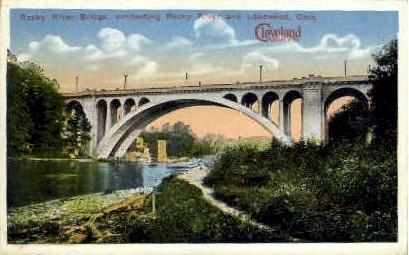 Rocky River Bridge - Cleveland, Ohio OH Postcard