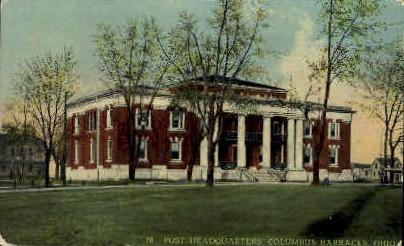 Post Headquarters - Columbus Barracks, Ohio OH Postcard