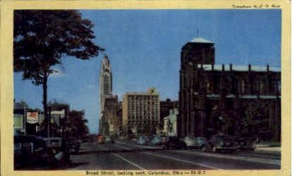 Broad Street - Columbus, Ohio OH Postcard