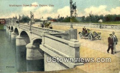 Washington Street Bridge - Dayton, Ohio OH Postcard