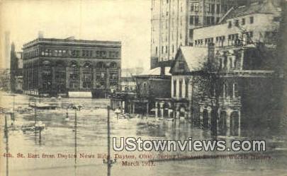 4th St, Dayton News Bldg, March 1913 - Ohio OH Postcard