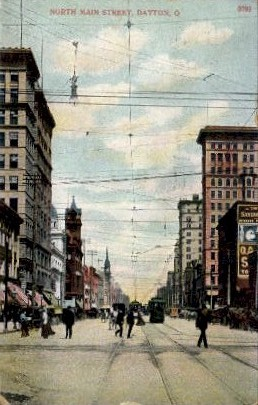 North Main Street - Dayton, Ohio OH Postcard