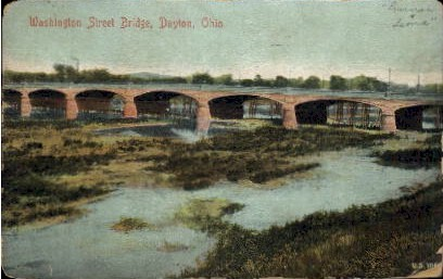 Washington St. Bridge - Dayton, Ohio OH Postcard