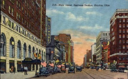 Main Street, Business Section - Dayton, Ohio OH Postcard