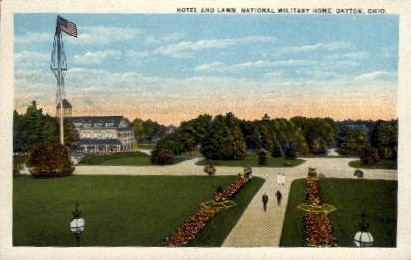 Hotel and Lawn, National Military Home - Dayton, Ohio OH Postcard