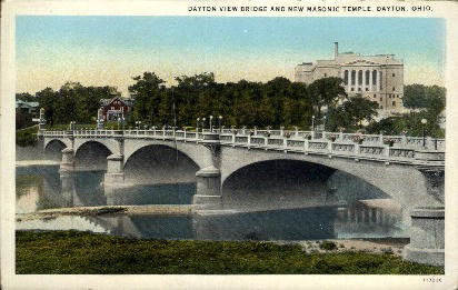 Dayton View Bridge and Masonic Temple - Ohio OH Postcard