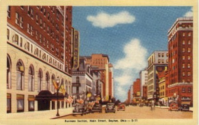 Business Section, Main Street - Dayton, Ohio OH Postcard