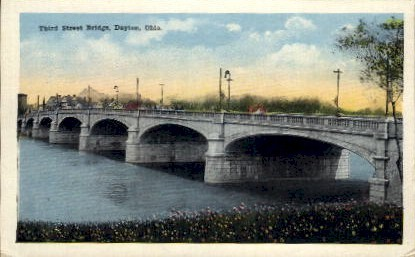 Third Street Bridge - Dayton, Ohio OH Postcard