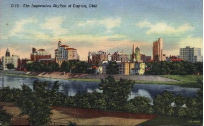 The Impressive Skyline - Dayton, Ohio OH Postcard