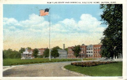 New Flag Staff and Barracks, Soldiers' Home - Dayton, Ohio OH Postcard