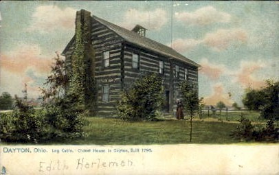 Log Cabin, Oldest House in Dayton - Ohio OH Postcard