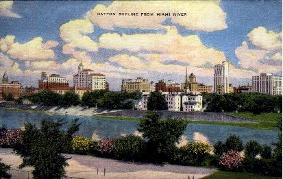 Skyline from Miami River - Dayton, Ohio OH Postcard