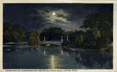 Lower Lake and Bridge, Soldiers' Home - Dayton, Ohio OH Postcard
