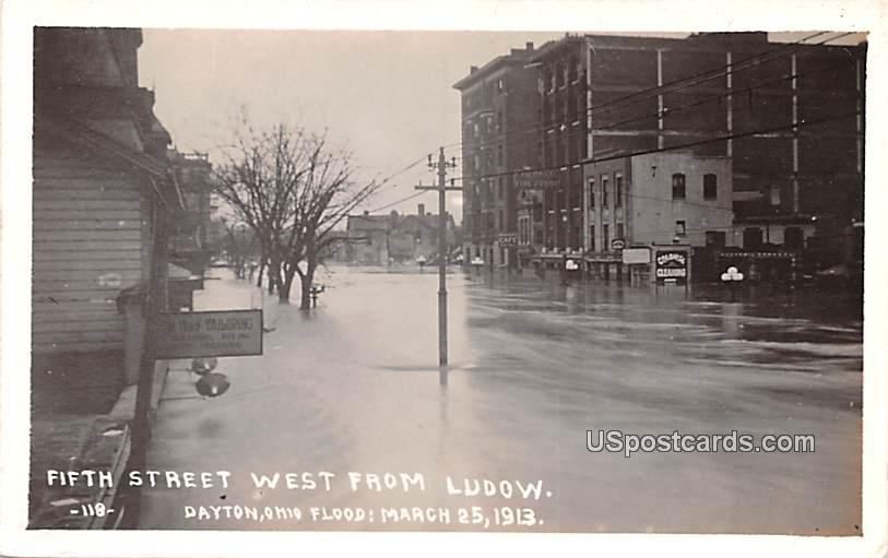 Fifth Street West from Ludow - Dayton, Ohio OH Postcard