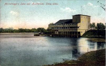 McCullough's Lake and Auditorium - Lima, Ohio OH Postcard