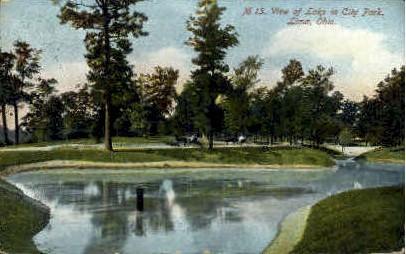 Lake in City Park - Lima, Ohio OH Postcard