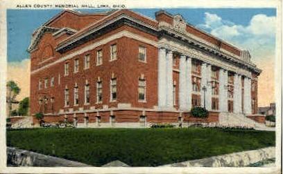 Allen County Memorial Hall - Lima, Ohio OH Postcard