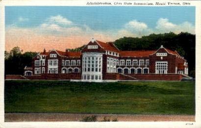 Administration, Ohio State Sanatorium - Mt. Vernon Postcard