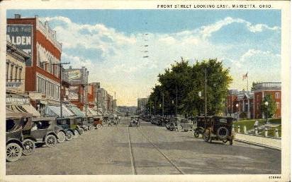 Front Street - Marietta, Ohio OH Postcard