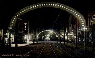 Main Street - Mansfield, Ohio OH Postcard