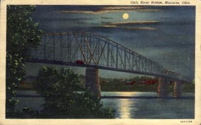 Ohio River Bridge - Marietta Postcard